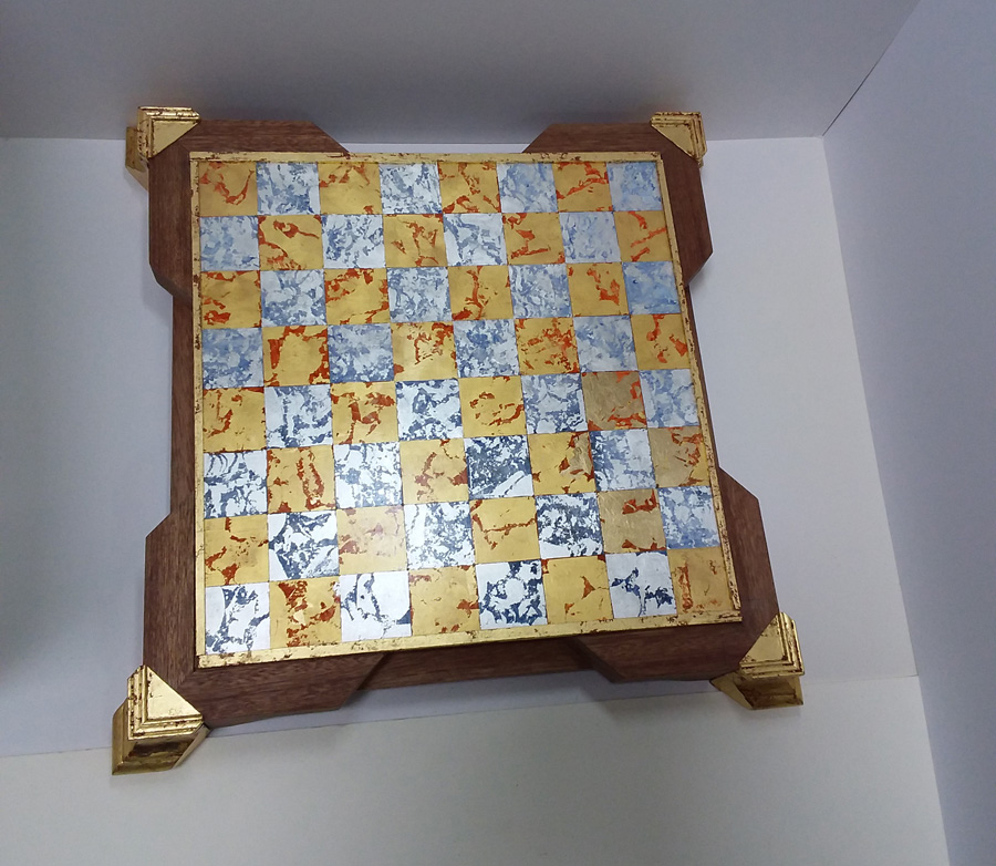 Gold and silver leaf chess board